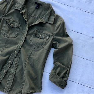Forever 21 Army olive green button up top